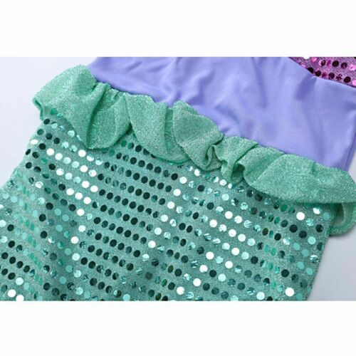 Girl Ariel Dress up Clothes Long Sleeve Sequins Little Mermaid Cosplay Costume