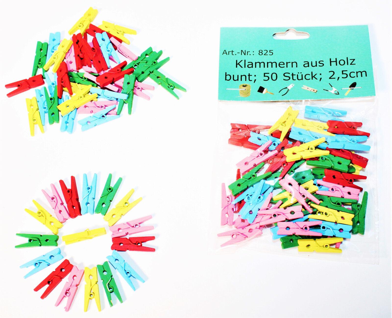 Mini Holzklammern Wäscheklammern Klammern BUNT Holz Deko Klammer Clip Clips 825