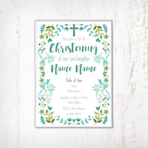 Baptism Invitations Blue Personalised Christening Invitation Naming day Boy