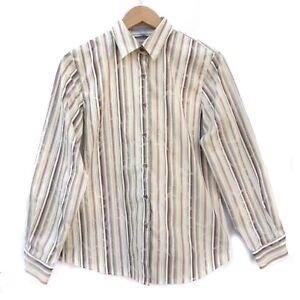 de52c6a85 Image is loading Foxcroft-Womens-Striped-Floral-Blouse-Button-Down-Wrinkle-
