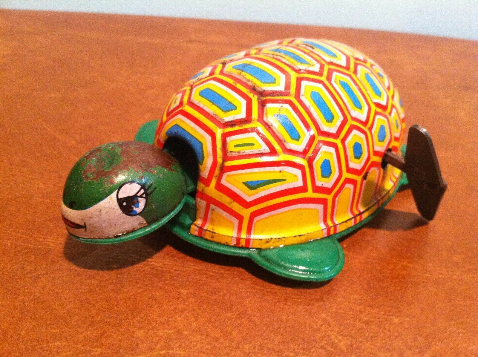 Antique Vintage Tin Lithograph Windup Toy Turtle Marked  K  Japan