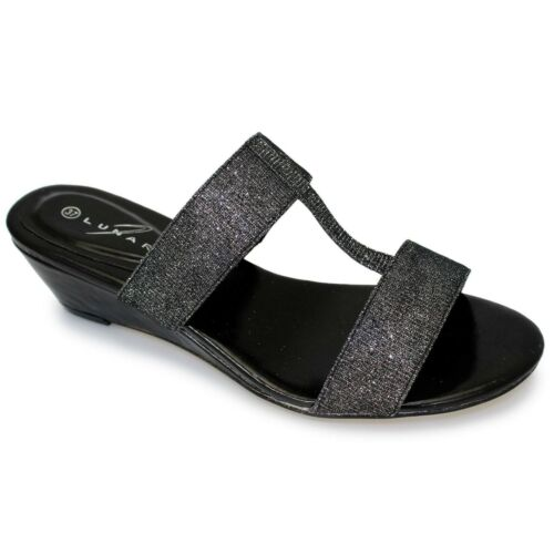 Ladies Glitter Sparkle Chunky Strap Low Wedge Comfortable Mule Fashion Sandal