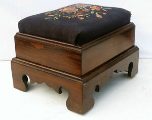 American Empire Rosewood Footrest with Original Needlepoint, Circa 1860s'