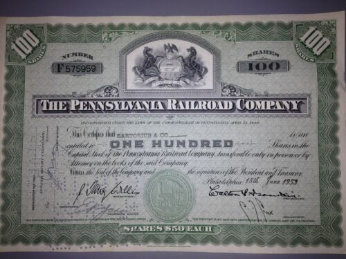 1950/'s Pennsylvania Railroad stock certificate with state seal vignette
