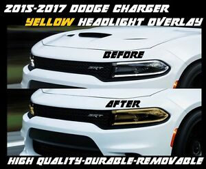2015 2016 2017 Dodge Charger Yellow Head Light Overlay