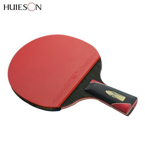 Carbon Fiber Table Tennis Racket Long//Short Handle Rubber Pingpong Racket