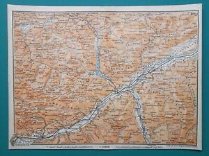 AUSTRIA-Alps-Innsbruck-amp-Environs-Jenbach-Kundl-Fugen-Rum-1910-MAP-Baedeker