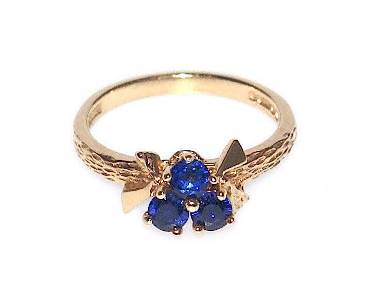 9CT SOLID gold RETRO CEYLON SAPPHIRE RING SIZE O FH MADE ENG LOVELY WORK OF ART