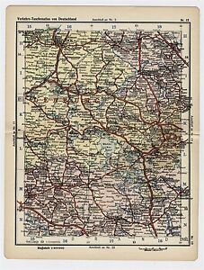 1930 Original Vintage Map Of Mecklenburg Rostock Brandenburg