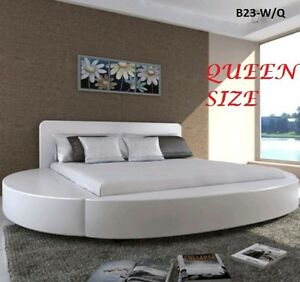 Round White Pu Leather Bed Frame
