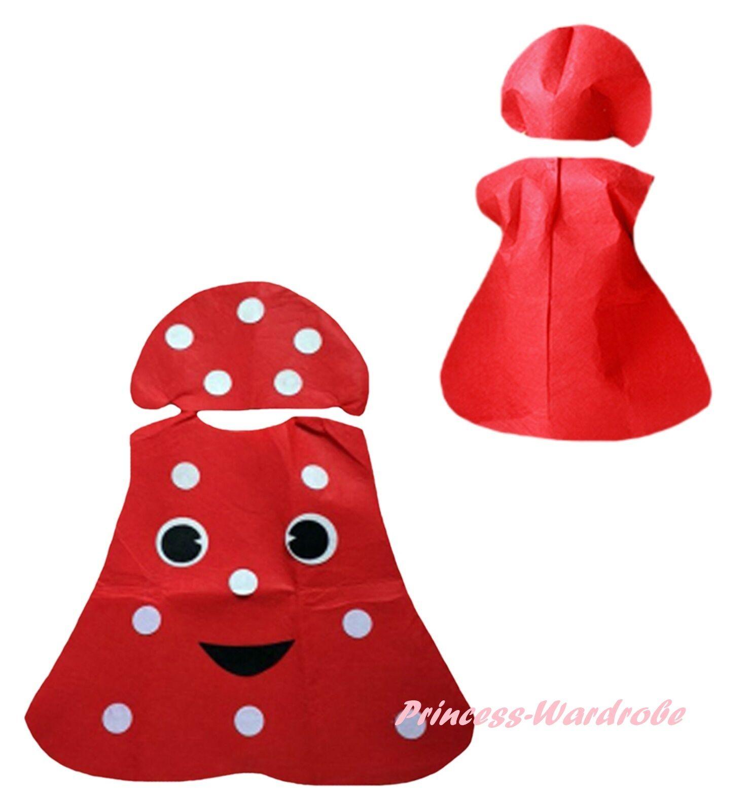 Xmas Halloween School Party Red Dot Mushroom 2pc Kids Child Cloth Unisex Costume