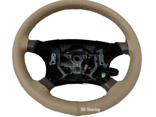 FITS 1999-2006 BMW X5 E53 100%REAL BEIGE ITALIAN LEATHER STEERING WHEEL COVER