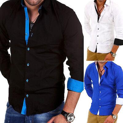 BEHYPE Herren Hemd Polo Slim Fit versch. Farben Schwarz/Weiß/Blau/Grau NEU