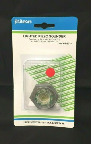 Philmore 44-1214 Lighted Piezo Sounder Red 12VDC Continuous