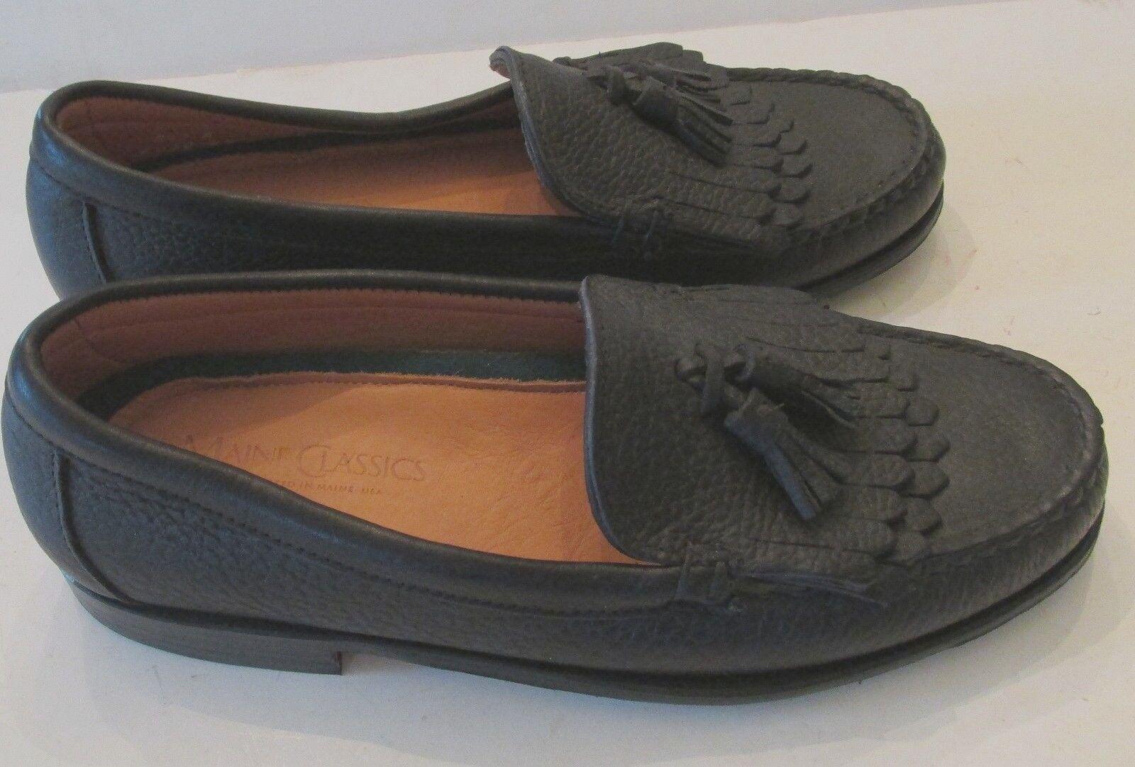 Men's  Sz 8.5 2 A NARROW Black Tassel NWOB Made Maine Classics Loafers USA Made NWOB e8e591