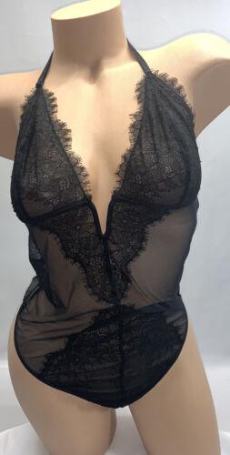 Details about  /NET victoria's Secret Black Lace Sheer Thong Teddy Lingerie Size Large