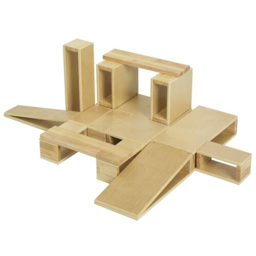 "ECR4Kids 18 pc Wooden Hollow Block Set ELR-0342 Blocks 25.25/"" x 25/"" x 47/"" NEW"