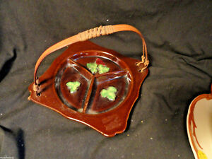Brown-Occupied-Japan-Porcelain-Divided-Relish-Dish-with-Split-Wood-handle