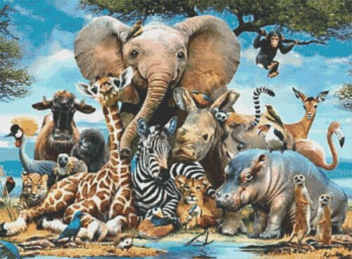 African Wildlife Collage-counted cross stitch chart