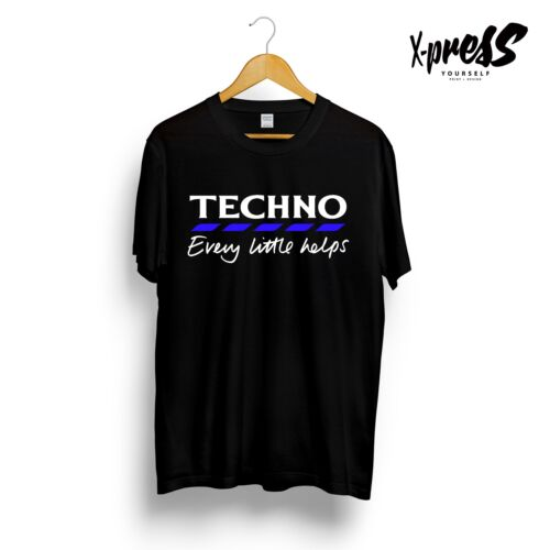 TECHNO SLOGAN PRINTED T-SHIRT Tesco Funny Dance Music Underground Black Rave Tee