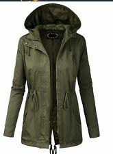 BILY Junior Fit Military Anorak Safari Hoodie Jacket Medium Olive Green