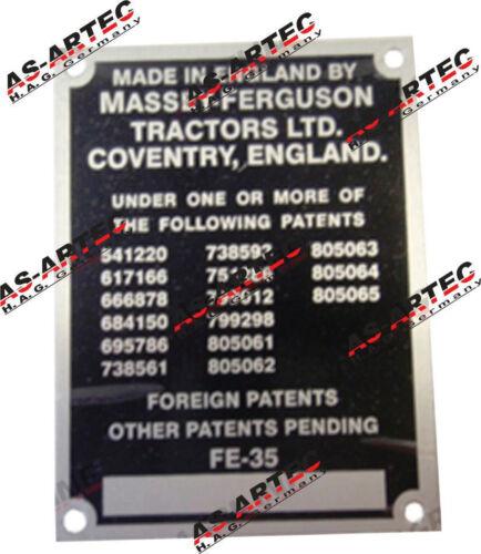 320 Typenschild für Traktor Massey Ferguson FE 35 T