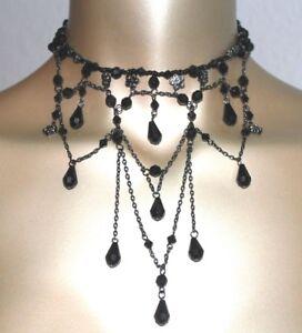 Halsband-Collier-Choker-Perlen-schwarz-gothic-Tracht-Halskette-NEU