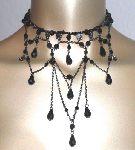 Halsband Collier Choker Perlen schwarz gothic Tracht Halskette NEU