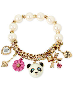 Image Is Loading Betsey Johnson Gold Tone Beaded Panda Charm Bracelet