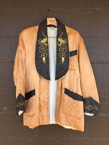 Vintage-Japanese-Smoking-Jacket-Sz-M-Embroidered-Dragons