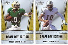 """ROBERT GRIFFIN III """"RG3"""" 2012 LEAF DRAFT DAY EDITION GOLD PROMO ROOKIE CARD LOT!"""