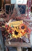 Primitive Style Fall Autumn Grapevine Floral Wreath Pips Welcome Home Decor