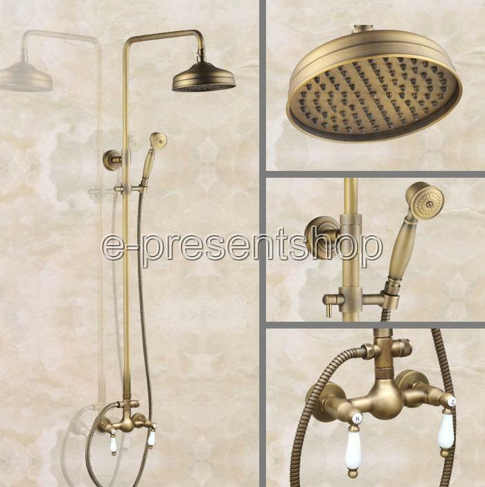 Support Mural 8  douche de pluie Robinet Set Double Poignée douche à main mitigeur