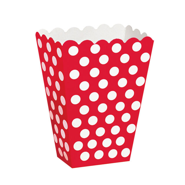 Polka Dots Spots Birthday Baby Shower Summer Party Popcorn Treat Boxes x 8
