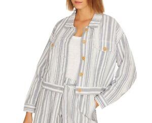 Sanctuary Women's Trucker Jacket Blue Size Small S Striped Cotton $139 #766