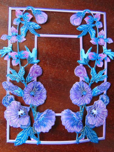 TATTERED LACE Die Cuts Cut Flower Frames HOLLYHOCK 12 Colours Printed 6 or 12