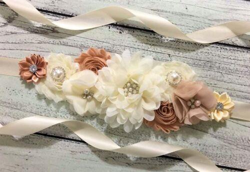 Ivory And Champagne Maternity Sash Belt //Baby Showers Vintage Belt