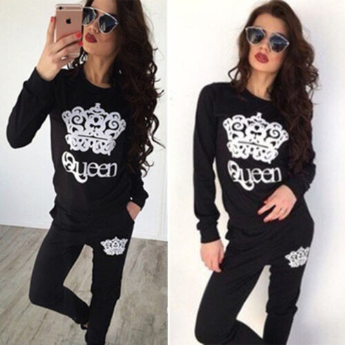 Details about  /Women Sport Long Sleeve Tops Pant Outfit Fitness Tracksuit Activewear Loungewear