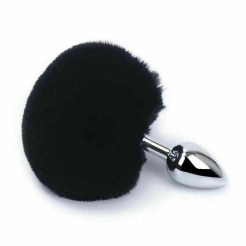 Fox Rabbit Faux Tail Plug Butt Metal Diamond Anal Beginner Stopper Adult Toy New