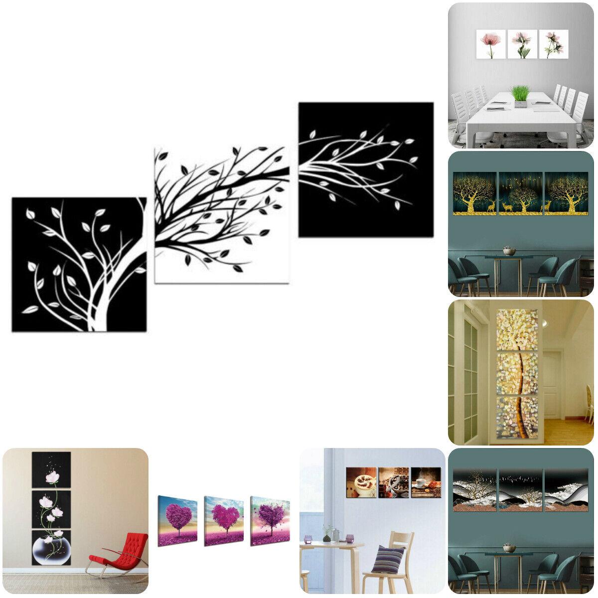 Art Abstrait Fleur Arbre NATUREL 3 PCS Toile Home Decor Wall Art Poster