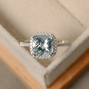 3-50Ct-Cushion-Cut-Aquamarine-Diamond-Halo-Engagement-Ring-14K-White-Gold-Finish