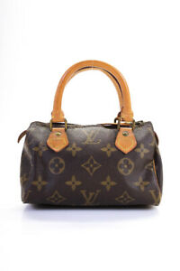 Louis Vuitton Womens Monogram Speedy HL Mini Crossbody Handbag Brown