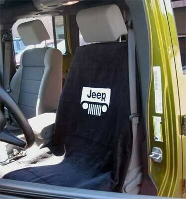 Black Terry Cloth Seat Armour Front Car Seat Cover For Jeep with Grille