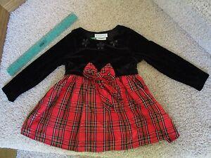 bdee4db3fb5b5 Image is loading Rare-Editions-Baby-Girl-Christmas-Red-Plaid-Black-