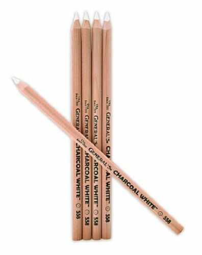 5 WHITE CHARCOAL PENCILS FOR ART GRAPHICS SKETCHING DESIGN DRAWING CLASS