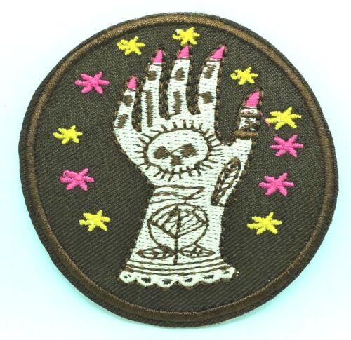 Tarot Main Mystic Magic Gypsy crâne rose brodé Iron On Patch Applique