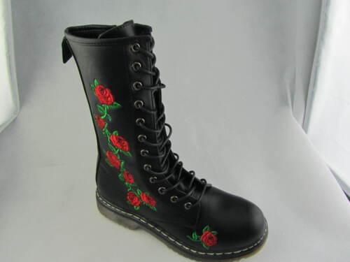 Truffle Buk 80 Black Floral Mid High Vegan Combat Boots