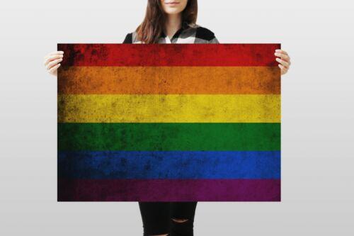 A1Gay Pride Flag Poster Art Print 60 x 90cm 180gsm Lesbian LGBT Gift #8841