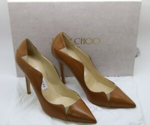 da9dab8fde NEW Jimmy Choo Brown Tamika 100 Canyon Leather And Nude Suede Pointy ...