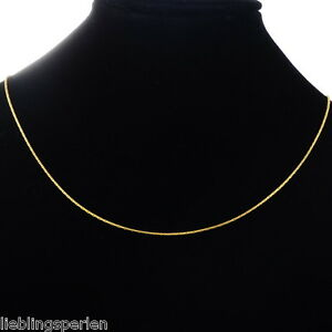 L-P-1-Herren-Damen-Vergoldet-Edelstahl-Goldkette-Halskette-Collier-1mm-50-4cm